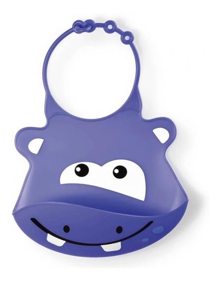 Babador De Silicone Multikids Baby Silybib Hipopótamo Bb044