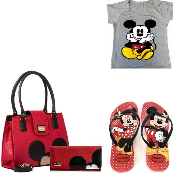 Kit Bolsas Feminina Mickey Camiseta Carteira Chinelo Enviojá