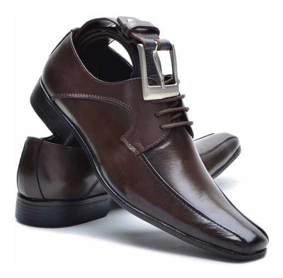 Sapato E Cinto De Couro Masculino Linha Dinapole Jb 1064