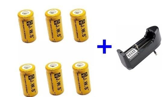 6 Bateria Cr123a Recarregável 16340 + Carregador D