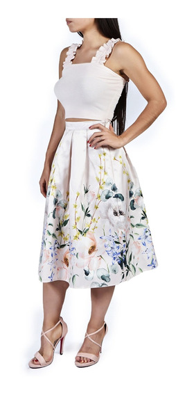 Falda Plisada Estampado Flores Cintura Alta Cklass