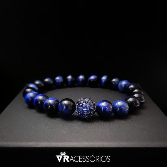 Pulseira Zircônia Blue Olho De Tigre Pedra Natural