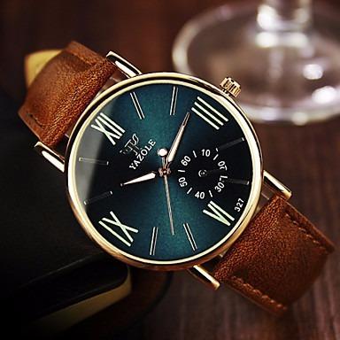 Relógio Masculino Yazole Elegante 327 / Couro Marrom