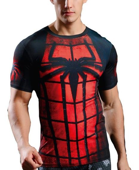 Playera Hombre Spider Araña Gimnasio Gym Lycra