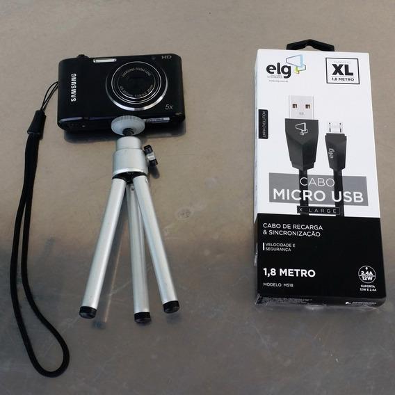 Kit Frete Grátis Com Câmera Digital Samsung St66 + Tripé + Cartão 4gb + Capa Protetora + Cabo Usb