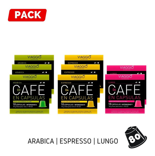 Pack 80 Cápsulas Café Para Nespresso