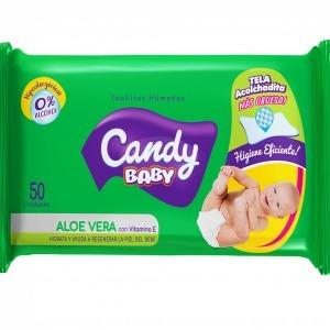 Toallitas Humedas Aloe Vera Candy Baby 50 Unidades X 16 Paq.