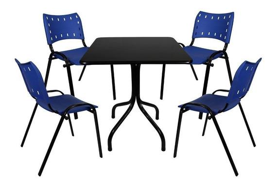 Jogo Mesa 70x70 4 Cadeiras Bar Restaurante Sorveteria
