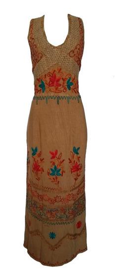 Vestido Longo Indiano Stone Bordado Moda Boho Hippie Verão