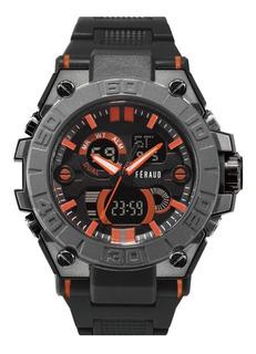 Reloj Feraud Hombre Analogico Digital Deporte Negro Naranja
