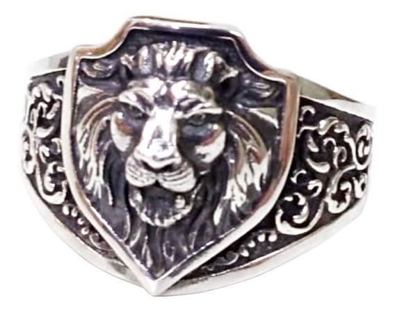 Anel Leão Escudo De Prata Pura Maciça 950 Com Certificado