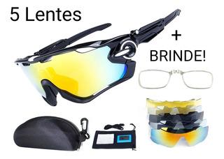 Óculos De Sol Esportivo Bike Speed 5 Lentes Uv400 Polarizado