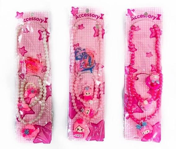 Kit Conjunto Biju Infantil Com 10 Colares + 10 Pulseiras + 10 Aneis Infantil Atacado