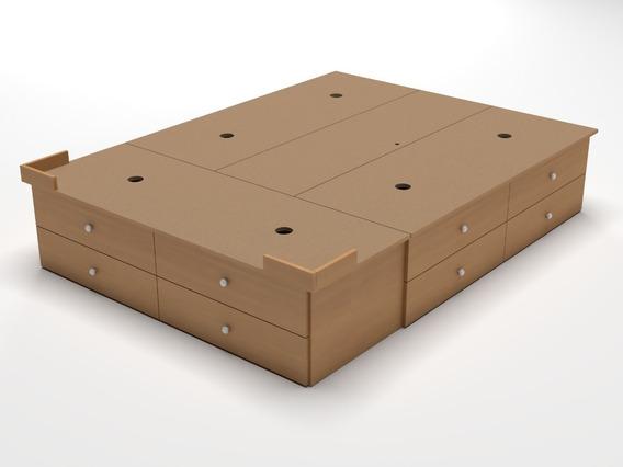 Base Box Sommier 12 Cajones King Size Somier 2,00 X 2,00