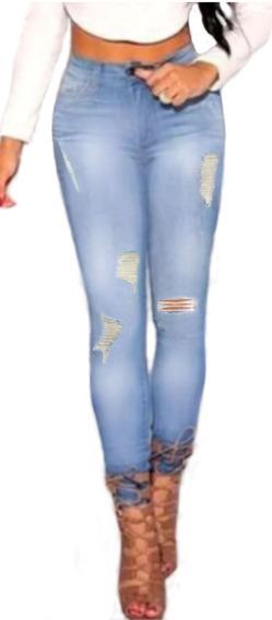 Roupas Feminina Calça Jeans Cintura Alta Lycra Dins Ref 10f