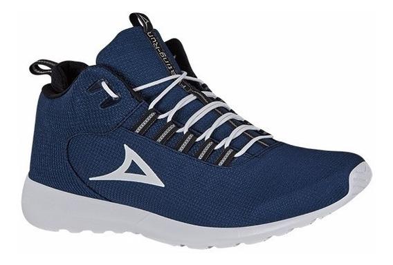 Tenis Bota Azul Marino/blanco Para Hombre
