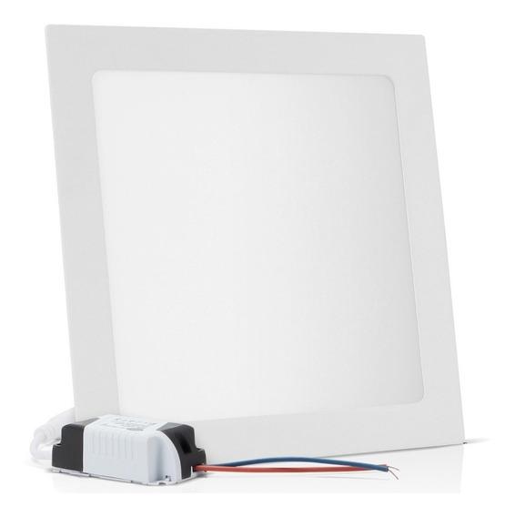Painel Plafon Embutir 25w Led Branco Frio Quadrado Reator