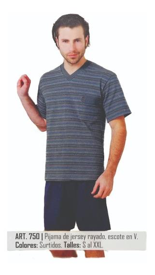 750. Pijama Jersey Rayado Escote V. Talle Especial