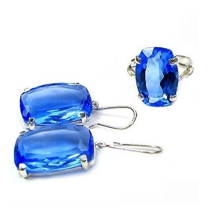 Lindo Conjunto Anel E Brincos Quartzo Azul Prata 950k Vj5500