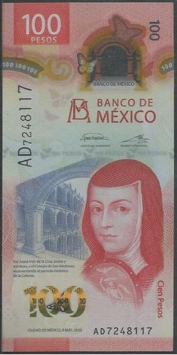 Mexico, 100 Pesos 8 May 2020 Serie Ad Plastico
