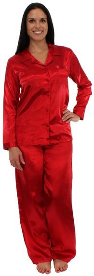 Pajama Heaven Set Xs-s Satin Rojo Pijama Regalo Dama Suave