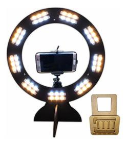 Ring Light Led Selfie Maquiagem Tripé P/ Celular Blog Preto