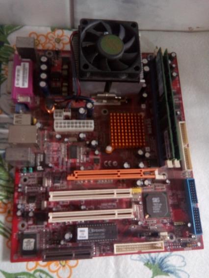 Placa Mae Pc Chips Amd 468 Com Processador Memoria + Brinde
