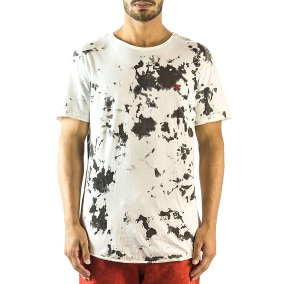 Camiseta Longline Curve Mancha Brohood Branco E Preto