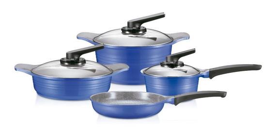 Batería De Cocina Roichen 7 Piezas Granito - Azul