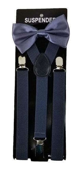 Set De Tirantes Sujetadores Y Moño Unisex, Elegantes Colores