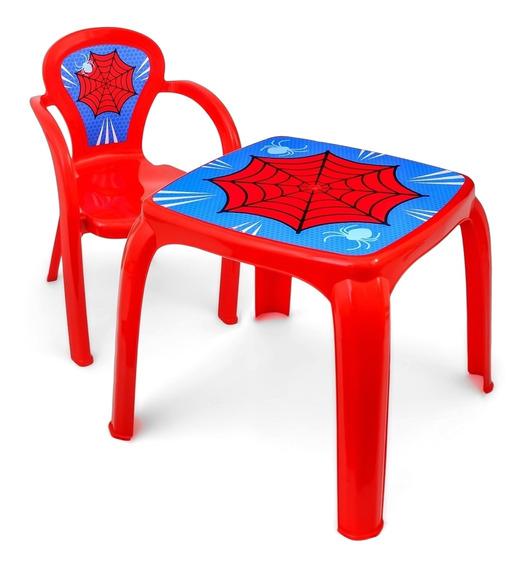 Kit Mesa Infantil C/ 4 Cadeirinhas Spider Man Menino