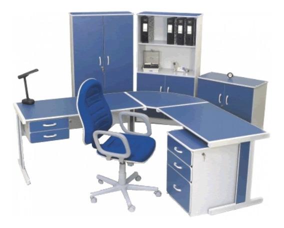 Mesa Em ( L ) Estação Para Escritório Com 2 Gavetas