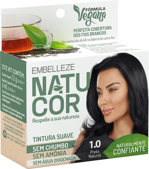 Tinta De Cabelo Natucor Naturalmente Confiante Chá Preto Preto Natural 1.0 Kit Economico