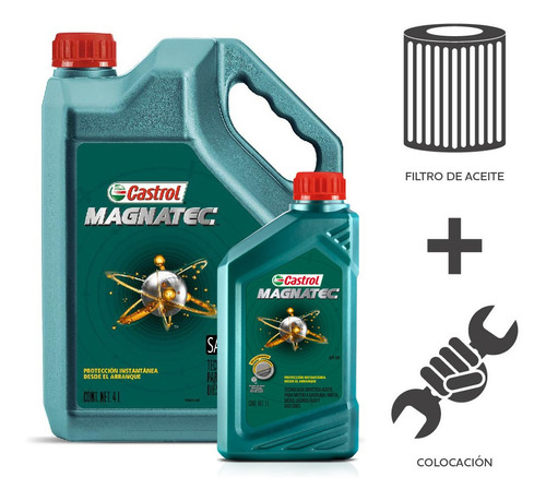 Imagen 1 de 5 de Cambio Aceite Castrol 10w40+ F Aceite + Col Duster Oroch 2.0