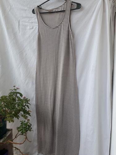 Vestido Largo Mujer Rayado Gris Blanco Talle 42 Normandie