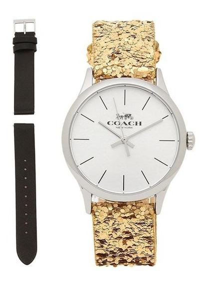 Coach Reloj Dama W1581 Dorado Con Correa Extra 100% Original