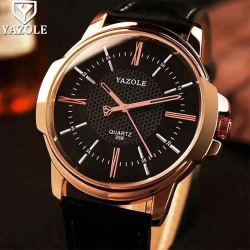 Relógio Original Yazole Modelo Pulseira Couro