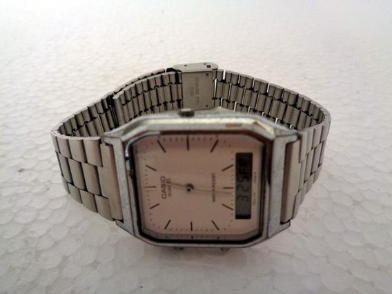 Relógio Casio Quartz Original Com Pulseira De Metal Usado