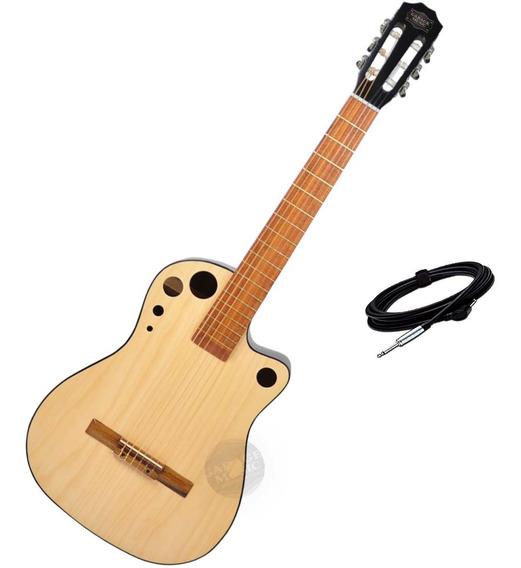 Guitarra Electro Criolla Clasica Media Caja Elite Cable Cd