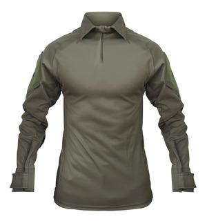 Camisa Tática Shirt Masculina Militar Reforçada Verde Oliva