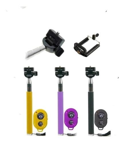 Kit 3 Pau Selfie Bastão Monopod+controle Suporte Pra Celular