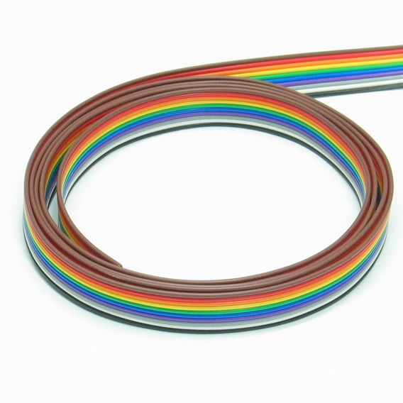 Kit 20 Mts Flat Cable 10 Vias Colorido Passo 1,27mm 26awg