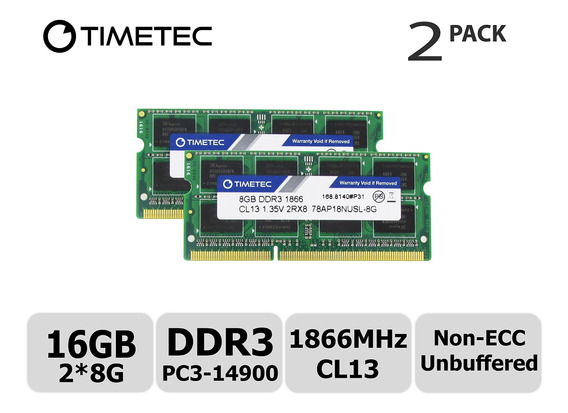 Memoria Ram 16gb Timetec Hynix Ic Kit (2x8gb) Ddr3l 1866mhz Pc3-14900 Unbuffered Non-ecc 1.35v Cl13 2rx8 Dual Rank 204 P