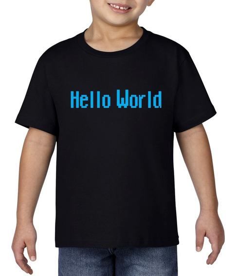 Camiseta Playera Bebe Niño Geek Programador Hello World Azul