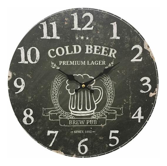 Relógio De Parede Em Madeira Cold Beer