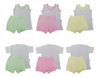 Roupas De Bebê Kit 6 Conjuntos Ribana Canelada Menina