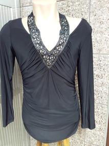 Vestido/blusa Fashion Preto Gg Importado Usa C/ Pedrarias