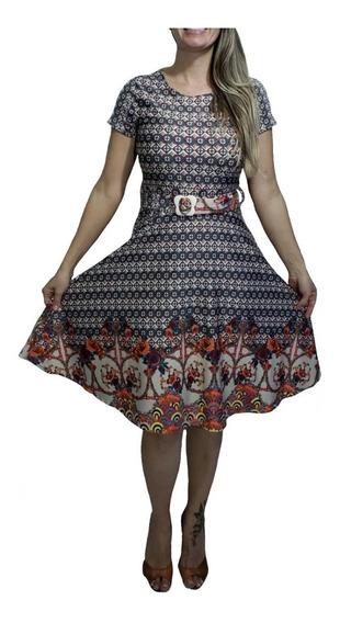 Vestido Gode Evangélico Feminino Rodado Lindas Estampas