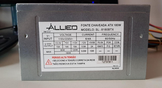 Fonte Allied Model; Sl-8180btx 24pinos Nomial Sata Atx Usada