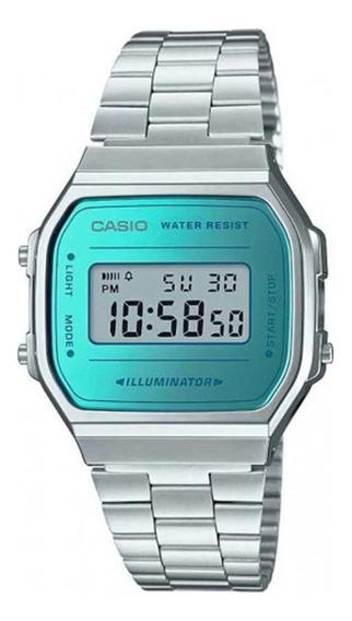 Relógio Casio Vintage Feminino Prata/azul A-168wem-2df